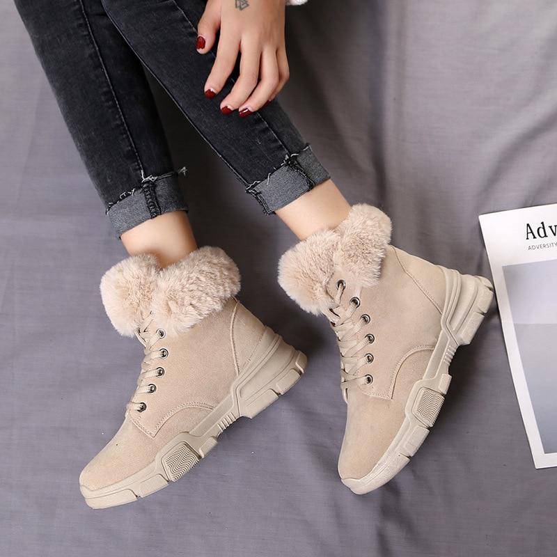 Suela Encaje Moda Estudiantes Hasta Beige Nieve 2019 Caliente Zapatos Invierno Botas Felpa Casual negro Algodón Botines Nuevas marrón Mujeres nzn1vx8f