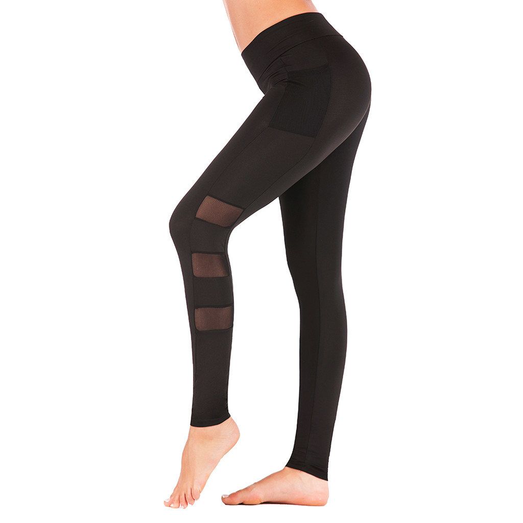 Fashion Women   Legging   Plus Size High Waist Elastic Waist Solid Mesh Patchwork Fitness Exercise   Leggings   Push Up Skinny Trousers