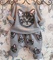 2016 Nueva Caliente-venta 2 unids niños Chicas Manga Larga Cat Kitten Camiseta Impresa Tops + Pants Trajes Ropa Del Otoño Del resorte
