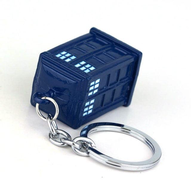 Doctor Who Blue TARDIS Police Box Keychain Copper Alloy Metal Key Rings For Gift Key chain Jewelry for Cars Doctor Who Keychain