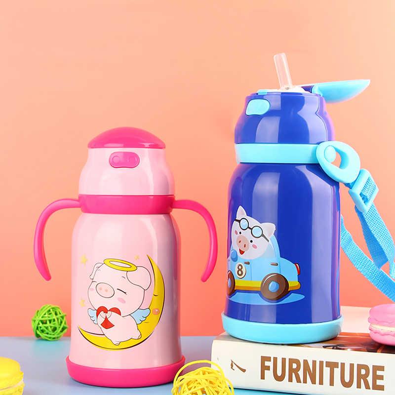 Menoea 450 мл мультфильм термос бутылка из нержавеющей стали Термокружка вакуумные, сохраняющие Тепло Кружка новый подарок для пары день рождения высокой емкости