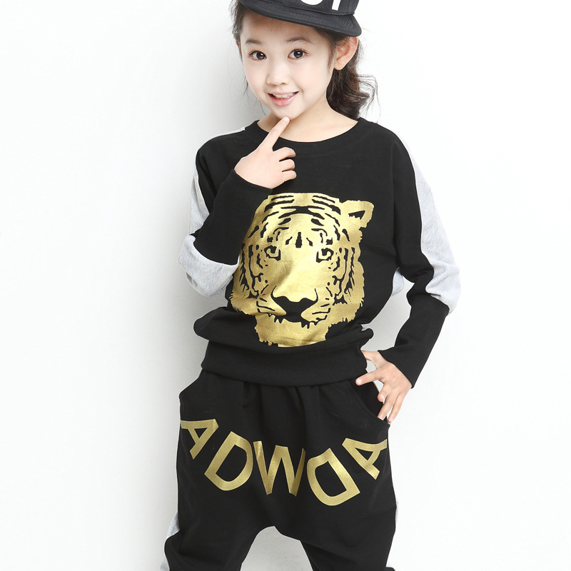 Girl Set 2016 Spring Fashion Tiger Pattern Tops + Harem Pants Sports Casual Print Letter 2 Pieces Sets Suit Children's Clothing free shipping children clothing spring autumn girl fashion sports set hooded sweater pants girl suit