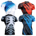 4 Way Stretch Print Compression Shirt Slim Fit Short Sleeved T-shirts Men's Fitness Bodybuilding Crossfit MMA S-4XL