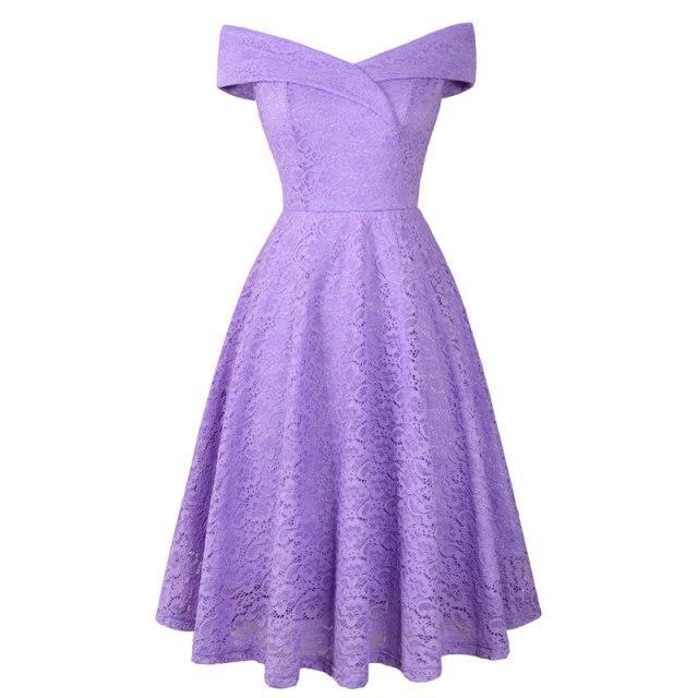 Коктейльные платья сексуальное бордовое кружевное короткое платье для вечеринки длиной до колена ТРАПЕЦИЕВИДНОЕ ПЛАТЬЕ С v-образным вырезом без рукавов - Цвет: lilac purple