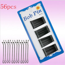 56Pcs/Lot Hot Sale Professional Black Hair Clip Bobby Round Toe Pins makeup hair maker accessory Tools Wholesale(China)