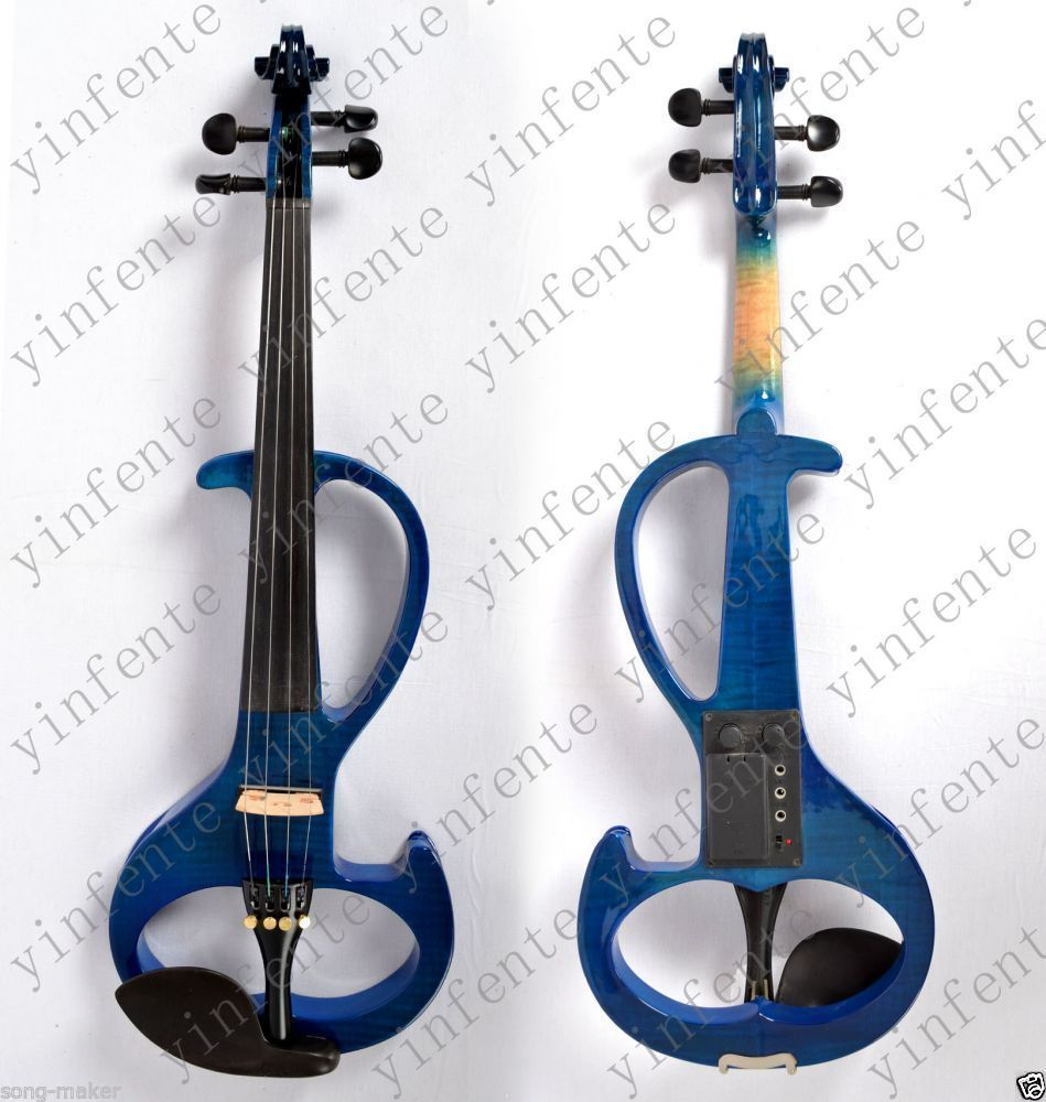 Violin Electric Violin Silent Nice Sound Solid wood White Yellow Blue 4/4 #6 4 4 electric violin infinite brand paten pick up nice