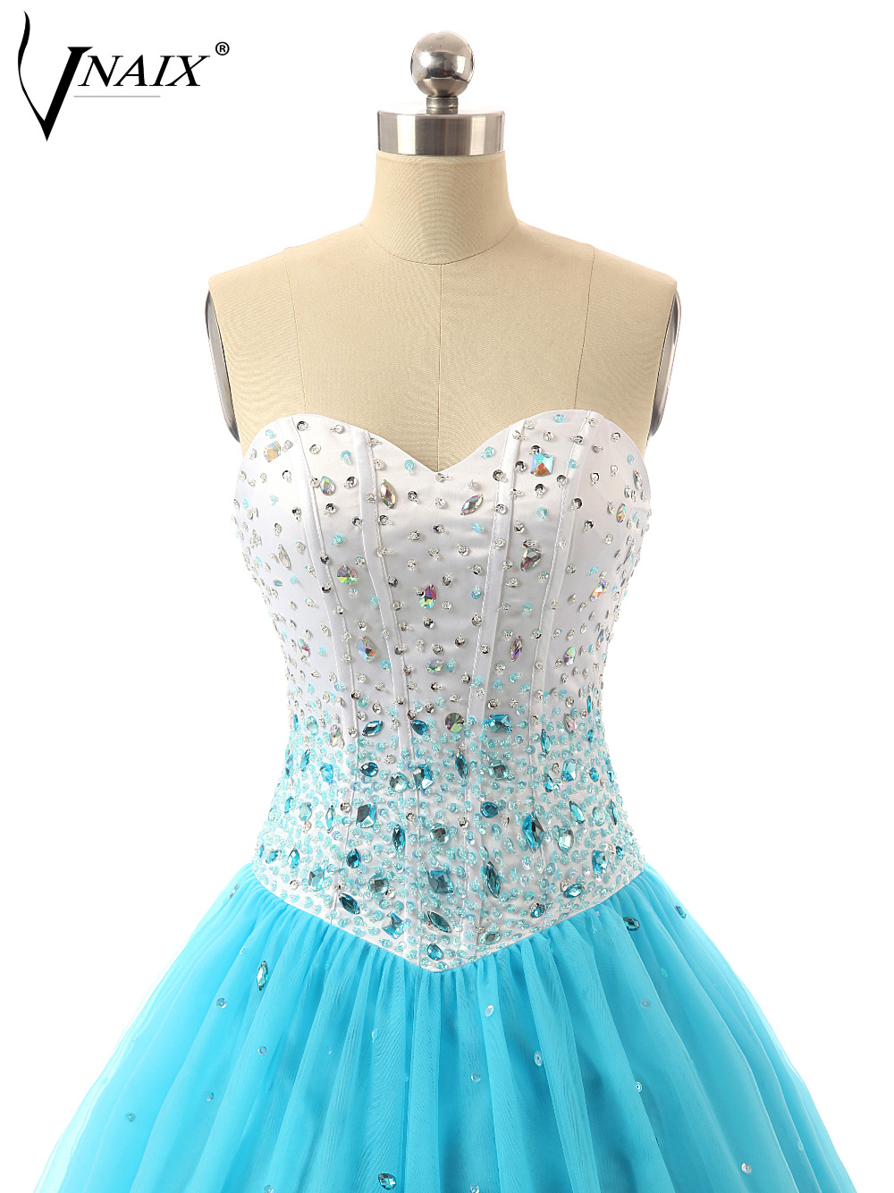 Vnaix P1115 Puffy Sweetheart Blue Ball Gown Tulle Prom Dress-in Prom ...