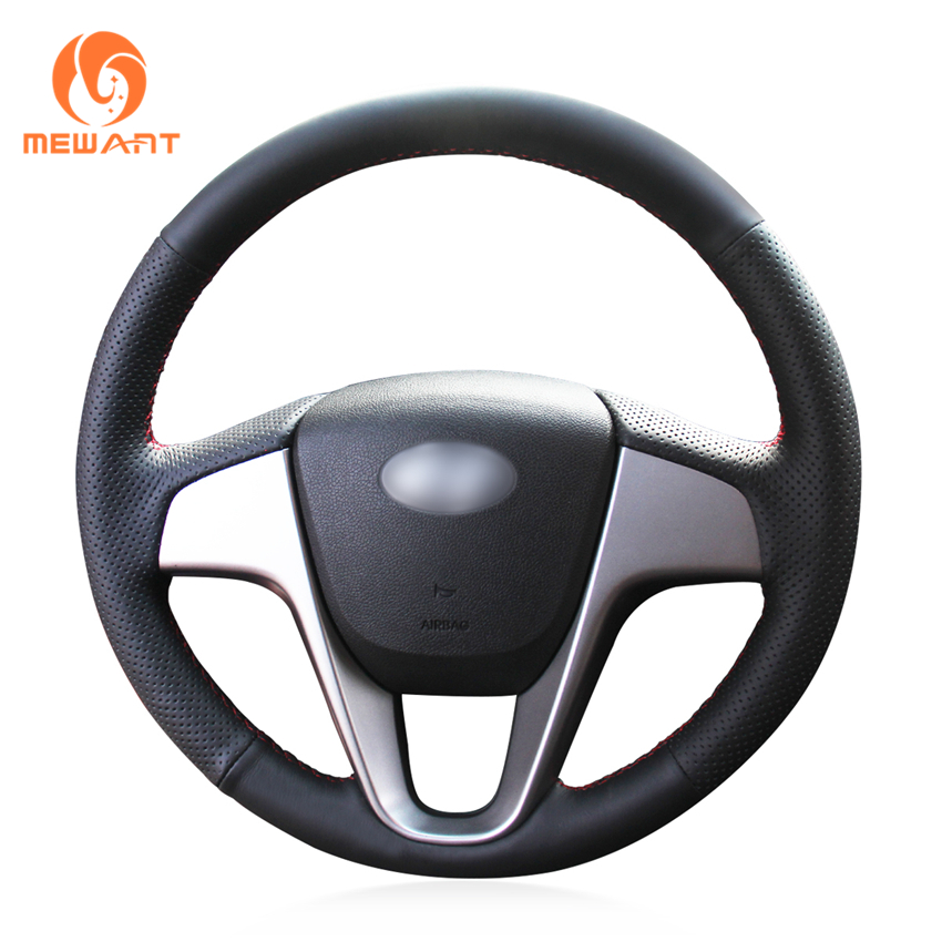 MEWANT Black Artificial Leather Car Steering Wheel Cover for Hyundai Solaris (RU) 2010-2016 Verna 2010-2016 i20 2009-2015 Accent