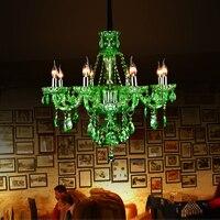 Современные хрустальные Люстры Европейский зеленый хрустальная люстра, лампа свечи номер КТВ Ресторан отеля Цветной Стекло Люстры люстры
