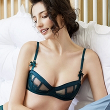 Sexy ultra-thin lace bra without sponge transparent half cup underwear comfortable bra woman