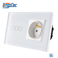 EU standard 3gang 1way remote wall switch and French wall socket eu standard 2gang 1way remote wall switch and french wall socket