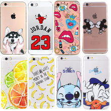 01e09da7d89 Funda de silicona para iPhone 7 7 más 6 6 S 5 5S SE caso suave TPU cubierta  Stitch Mickey Minnie gato para iPhone 6 S 8 Plus X ..