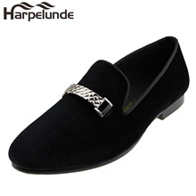 Harpelunde Men Event Shoes Buckle Black Velvet Loafers