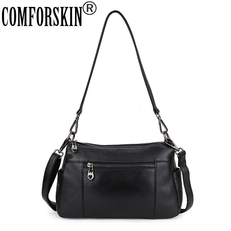 COMFORSKIN luxueux 100% sacs en cuir véritable Messenger 2019 marque chaude grande capacité Double compartiment femmes sacs à bandoulière