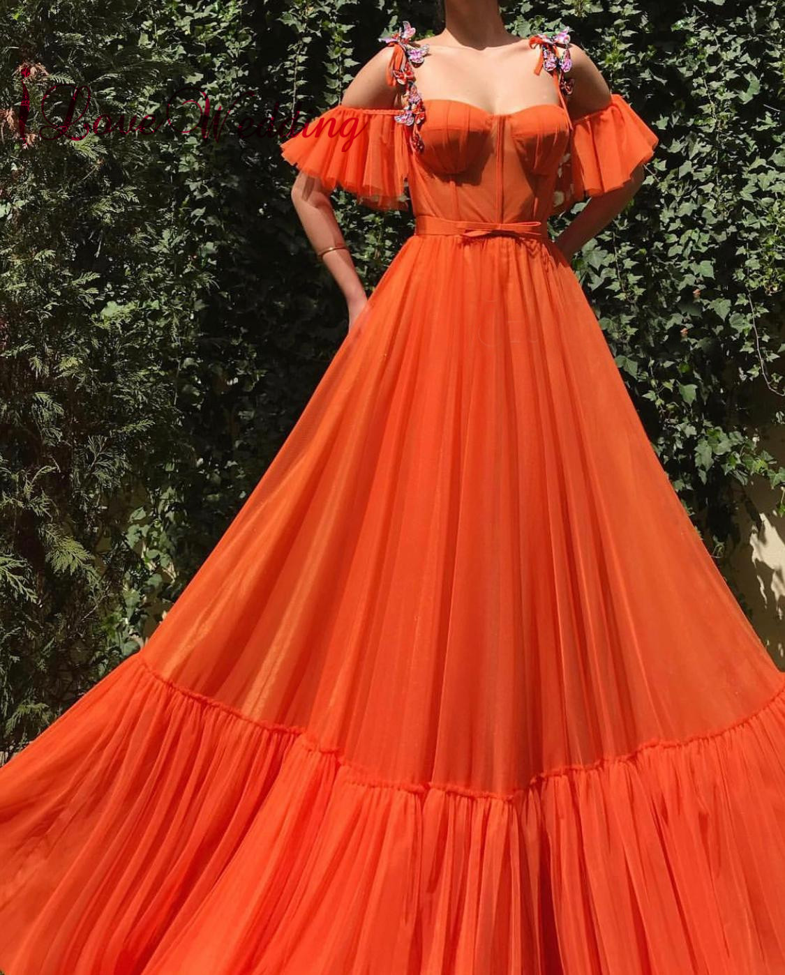 Formal Dress 2019 Strapless Orange Tulle Party Gown Custom Made A Line Off The Shoulder Evening Dresses Long For Party Dress