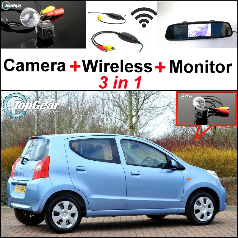 цена на 3 in1 Special Rear View Camera + Wireless Receiver + Mirror Monitor Back Up Parking System For Suzuki Alto HA25 MK7 2008~2014