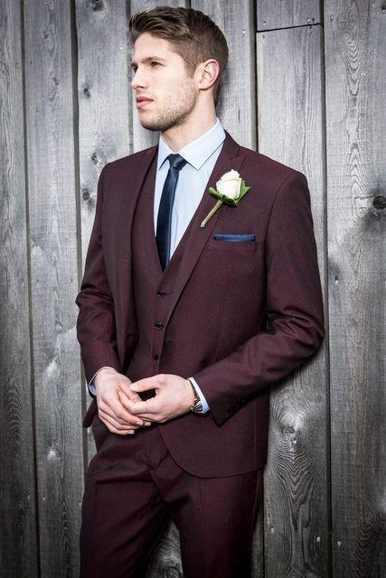4cd044e47 2017 najnowsze wzory płaszcz Pant burgundii garnitury ślubne dla mężczyzn  Slim Fit niestandardowe 3 sztuka smokingi