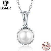 BISAER 925 Sterling Silver Luminous Droplet White Crystal Freshwater Pearl Pendant Necklaces For Women Sterling Silver