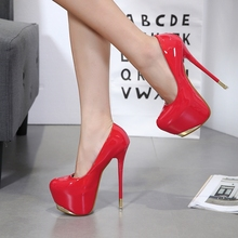 DiJiGirls 2021 New Womens Super High Heels Night Club Pumps 16 cm High-heeled Shallow Mouth Stiletto Patent Leather Single Shoes
