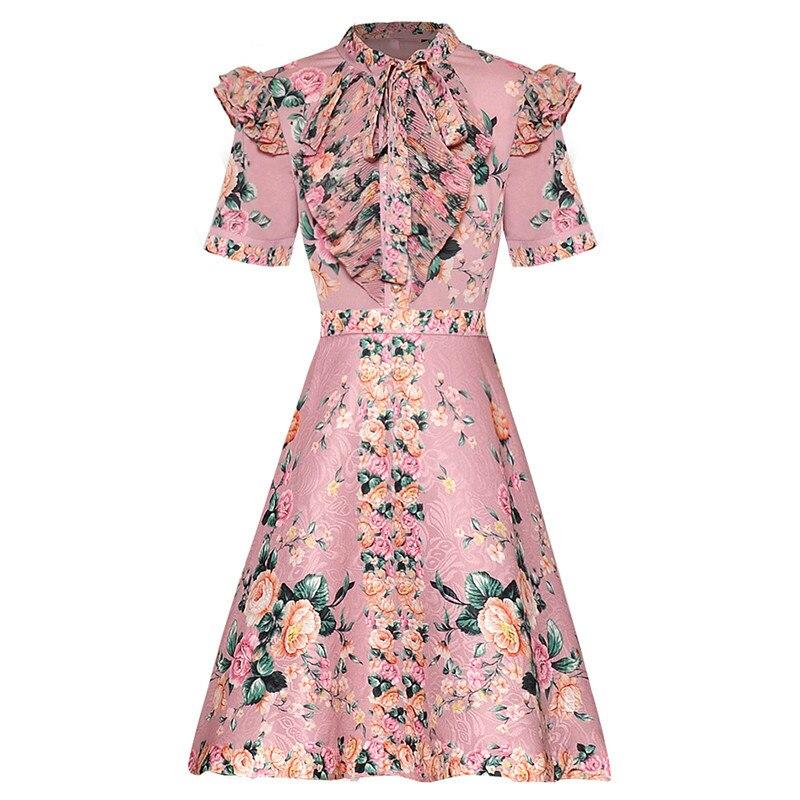 GoodliShowsi جديد النساء اللباس الكشكشة الأزهار طباعة الكرة ثوب قصير كم ثوب أنيق-في فساتين من ملابس نسائية على  مجموعة 1