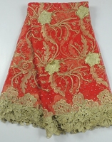 Hoge kwaliteit rode voile kant applique trouwjurk/afrikaanse guipure kant netto stof met strass bruids jurken voor vrouwen