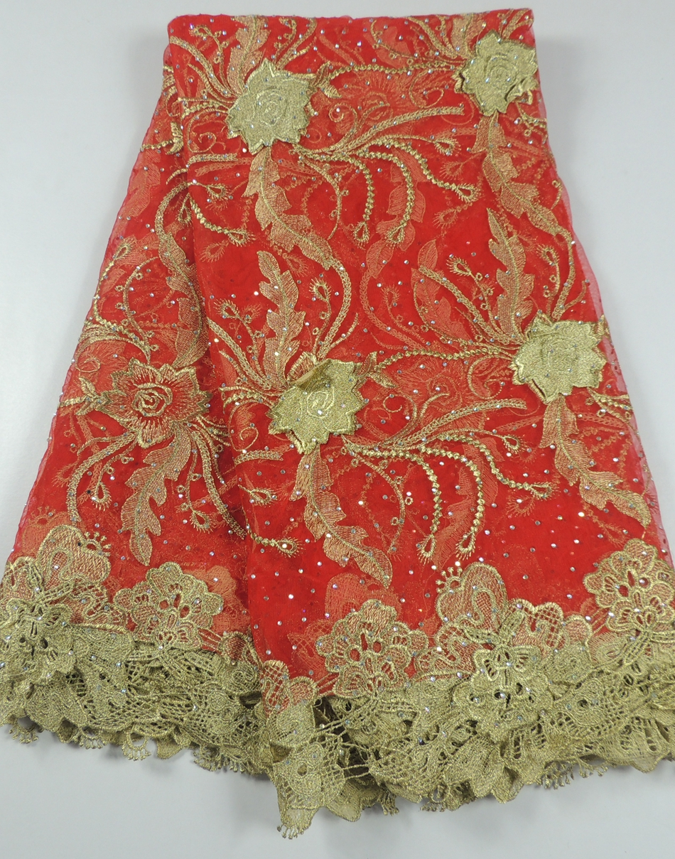 high grade red voile applique lace wedding dress / african net ...