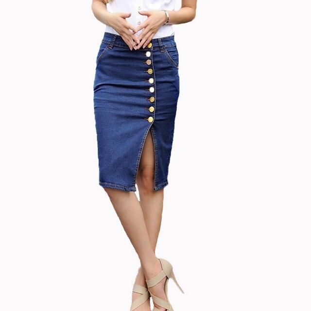 Горячий Дизайн 2016 Летние Сексуальные Женщины Моды Джинсы Карандаш Юбки Сексуальная Однобортный Юбка Длиной До Колена Плюс Размер
