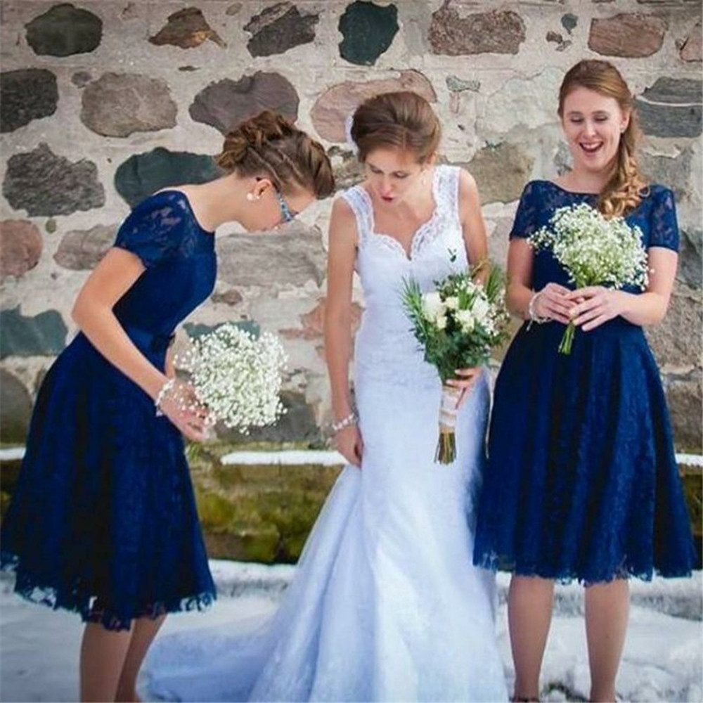 Us 72 98 25 Off Royal Blue Lace Bridesmaid Dresses 2019 Short Sleeve A Line Knee Length Simple Wedding Guest Dress Cheap Wedding Party Gowns In