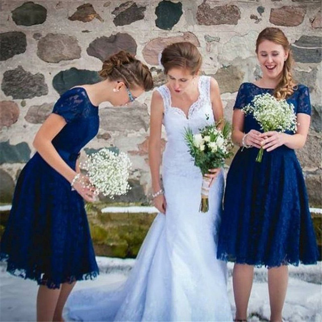 8eee373fc30 Royal Blue Lace Bridesmaid Dresses 2019 Short Sleeve A Line Knee Length  Simple Wedding Guest Dress Cheap Wedding Party Gowns