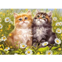 Full drill DIy 5D Diamond Mosaic Rhinestones Embroidery Animals Cats in the flowers diamond painting cloth pictures decoration
