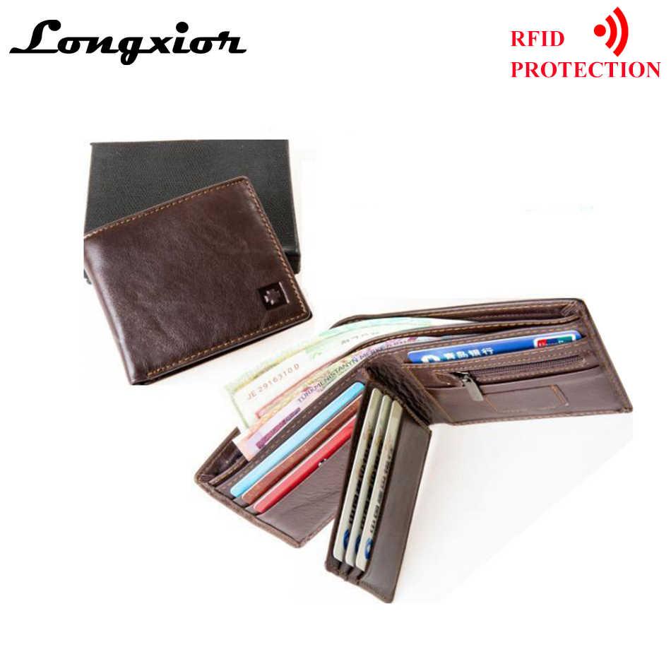 MRF1 RFID Blocking Brieftasche Männer Echte Kuh Leder Vintage Geldbörsen Identität Diebstahl Schutz Geld Tasche Karten Halter Kupplung Brieftaschen