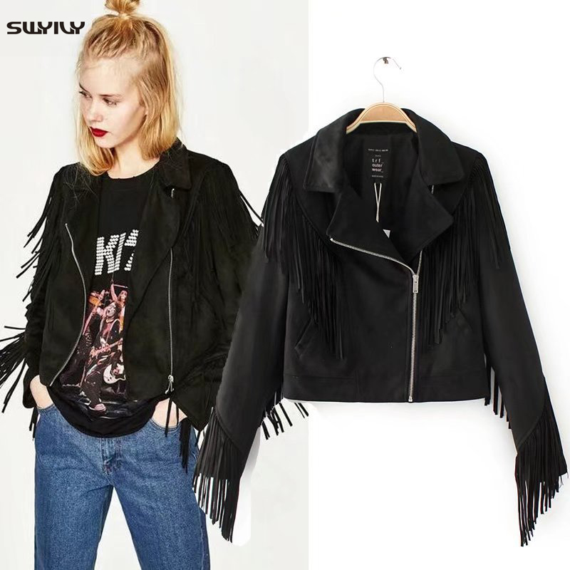 SWYIVY Womens Aviator Jacket   Suede     Leather   2019 Spring New Female Tassel Short Design Black Coat Woman   Leather   Jackets Zippers