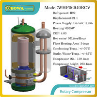 7KW heating capacity high efficiency R22 compressor for 9L/H heat pump water heater,suitable for 34sqm floor heating