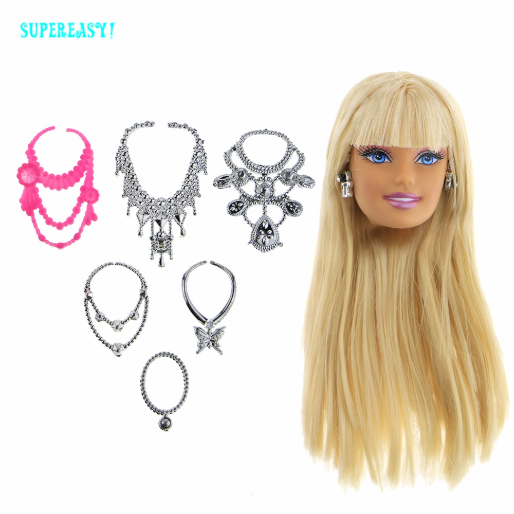1 Pcs High Quality Doll Head Blond Straight Hair With Metallic Earrings + 6 Pcs Plastic Chain Necklaces Accessories For 1/6 Doll high quality doll head brown curly hair long eyelashes with fashion earrings diy gift accessories for 1 6 12 doll kids toy gift