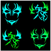 Luminous Color Halloween Party Mask Blue Green Hand Paint Hip Hop Dancing Cosplay Mask Eco Friendly