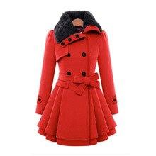 Женский шерстяной Тренч, зимнее пальто с отложным воротником, с длинным рукавом, двубортное, приталенная верхняя одежда размера плюс YF72