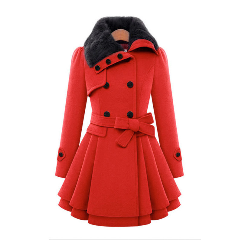 12902e1dd85 Women Wool Blend Trench Overcoat Winter Turn-down Collar Long Sleeve Peacoat  Double Breasted Slim Fit Outwear Plus Size YF72