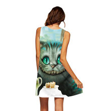 3D Cat Dress Women 2018 Sexy Sleeveless O Neck A Line Short Beach Dress Robe Vintage Summer Cloth Casual Mini Work Office Dress(China)