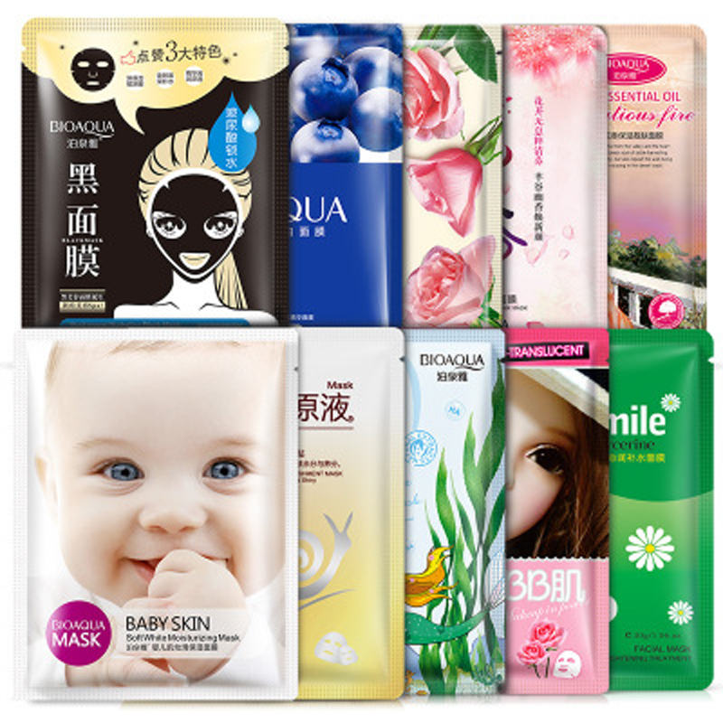 BIOAQUA 10Pcs Face Mask Facial Skin Care Face Deep Moisturizing Nourish Oil Control Essence Korean Cosmetics Sheet Mask