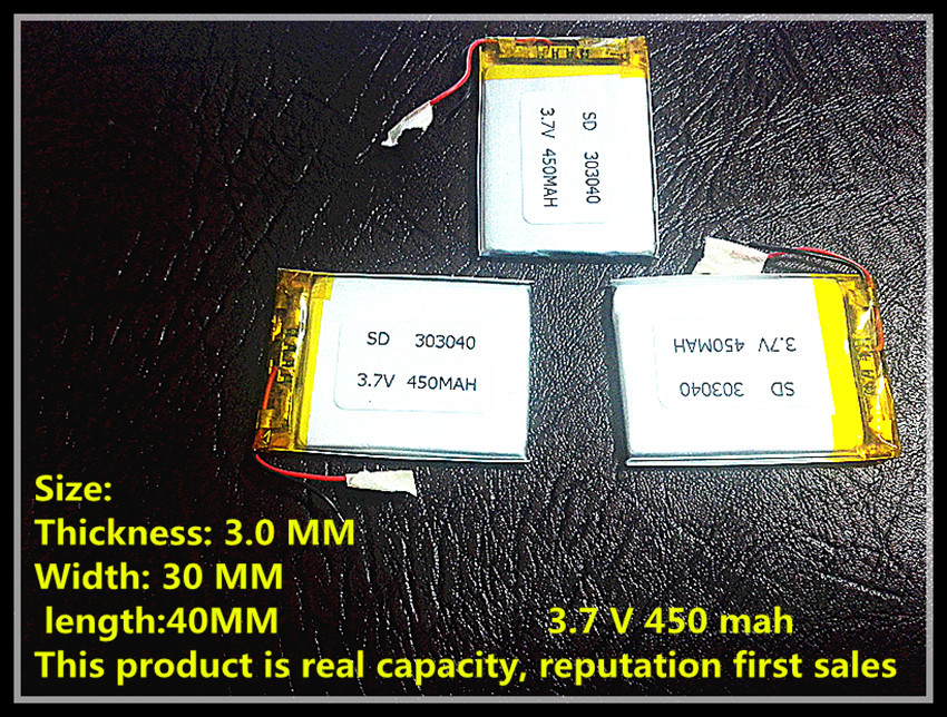 Mp3, Mp4 Gps Thin Small Toy Battery 303040 Polymer Rechargeable Battery 450mah Lithium-ion Batteries 3 7v lithium polymer batteries 803040p 950mah mp4 3 navigation instruments rechargeable