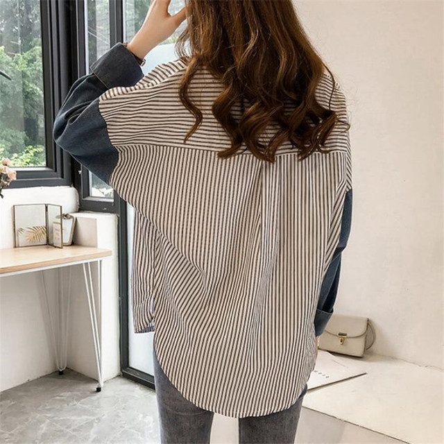 stripe long-sleeve shirt for women autumn new Hong Kong style loose casual shirt plus size women clothing 5