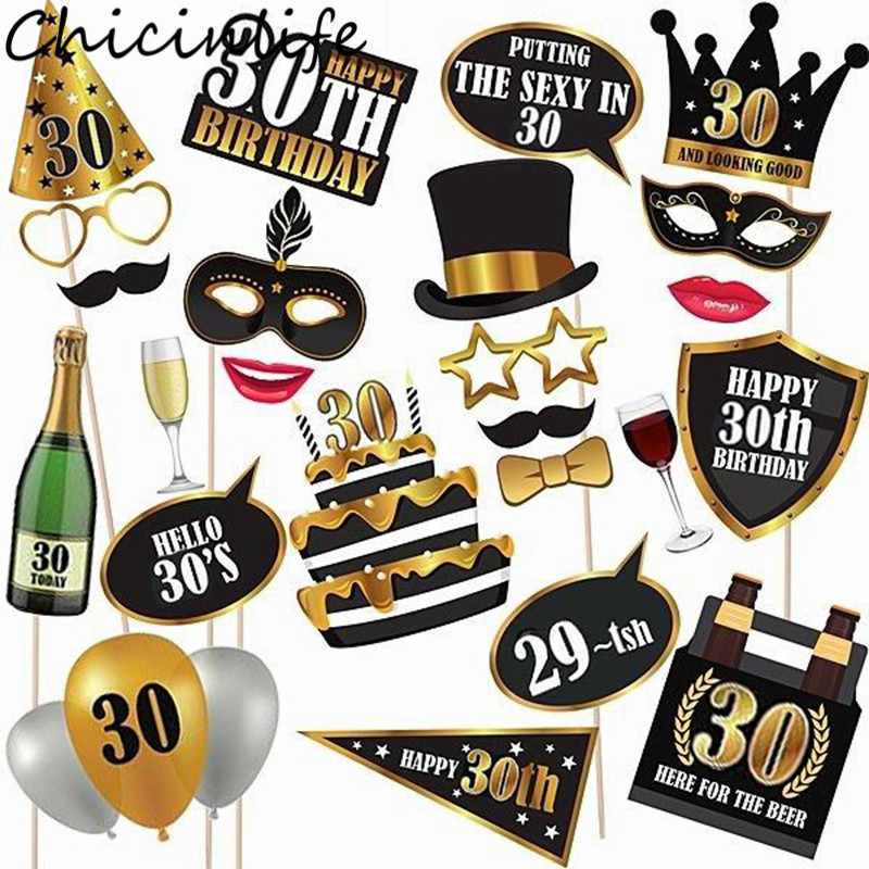 Chicinlife 30th/50th/60th Happy Birthday Photo Booth Prop Anniversary Birthday Party Man Woman Style Gift Funny Decor Supplies