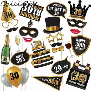 Chicinlife 30th/50th/60th Happy Birthday Photo Booth Prop Anniversary Birthday Party Man Woman Style Gift Funny Decor Supplies(China)