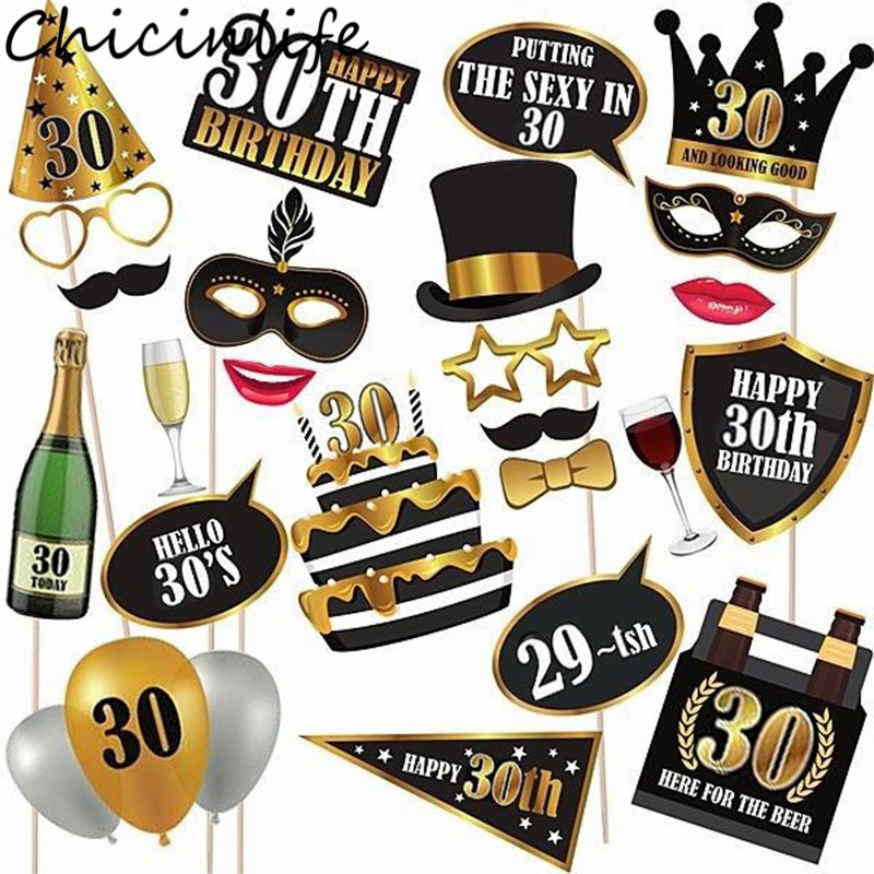 Chicinlife 30th/50th/<font><b>60th</b></font> Happy <font><b>Birthday</b></font> Photo Booth Prop Anniversary <font><b>Birthday</b></font> Party Man Woman Style Gift Funny <font><b>Decor</b></font> Supplies image