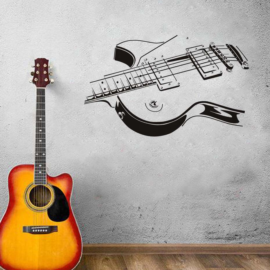 Guitar String Silhouette Decals Vinyl Wall Sticker Wall Art Murals Removable Waterproof Wallpaper For Music Bedroom Home Decor Стикер