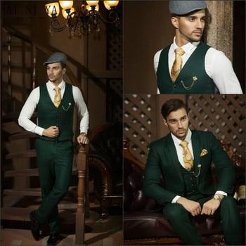 2018 Custom Made Dark Green Slim Fit Men Suits Formal Occasion Business Suits (jacket+pants+vest)