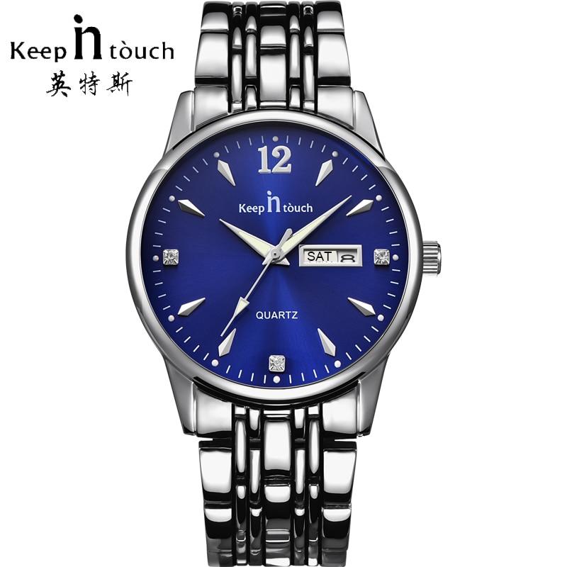 все цены на KEEP IN Touch Luxury Brand Calendar Watch Men Waterproof Fashion Business Quartz Mens Watches Stainless Steel Relogio Masculino
