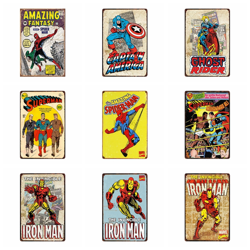 [ Kelly66 ] Comic Hero Iron Super Man Metal Sign Tin Poster Home Decor Bar Wall Art Painting 20*30 CM Size DZ4