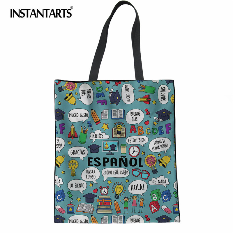 INSTANTARTS Cartoon Spanish Teacher Printing Women Linen Shopping Bags Female Casual Lar ...