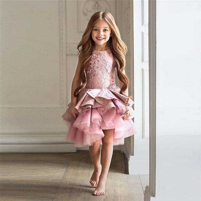 цена Gorgeous Vestidos de Primera Comunion Zipper Draped A-line Pageant Christmas Pink Tulle Rustic Flower Girl Dress 0-16 Years Old